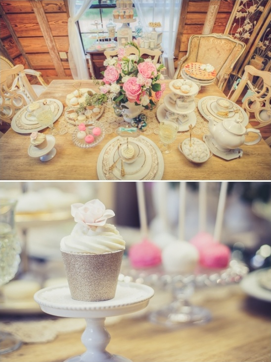 vintage bridal shower table decor