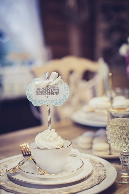 tea cup wedding favor merry and bright flag