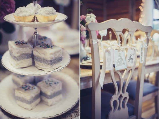 frosted desserts and gift tag chair decor