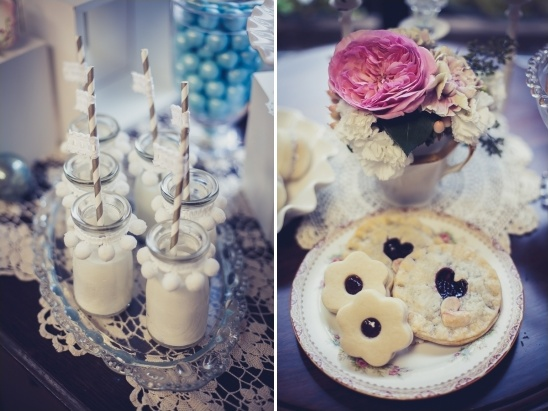 holiday milk jars and jam filled tarts