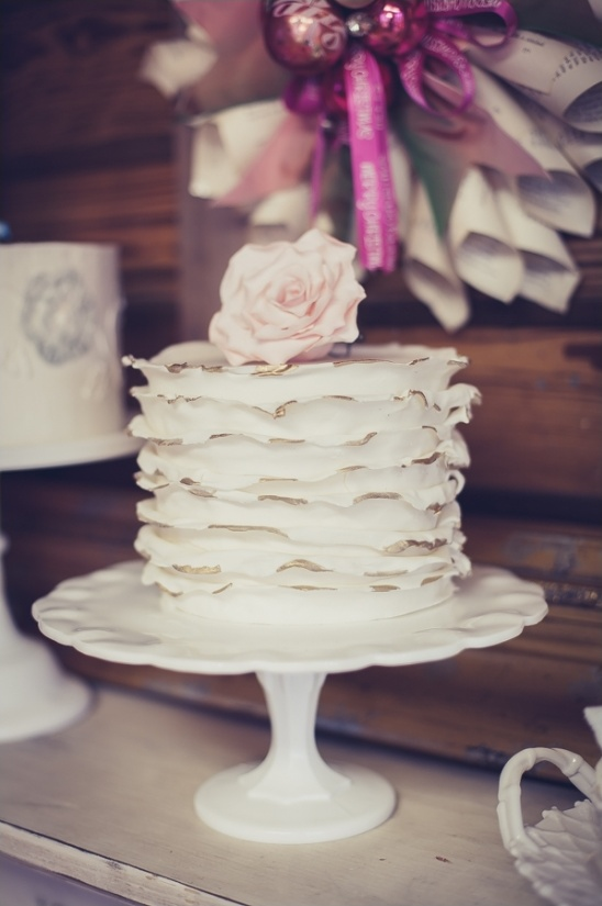 gold edged ruffle wedding cake