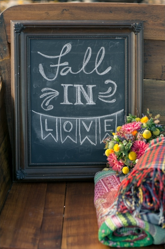 adorable fall in love chalkboard sign