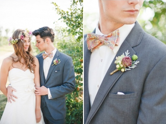 paisley print bow tie for the groom