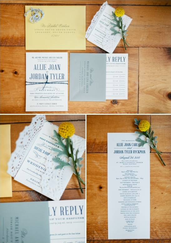 blue, white and yellow wedding stationery by confetti creative co