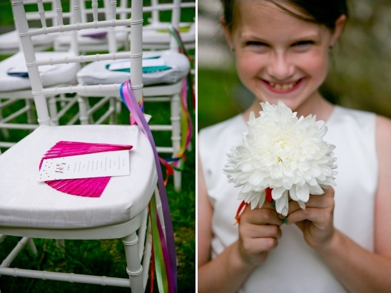 colorful wedding fans and simple flower girl bouquet