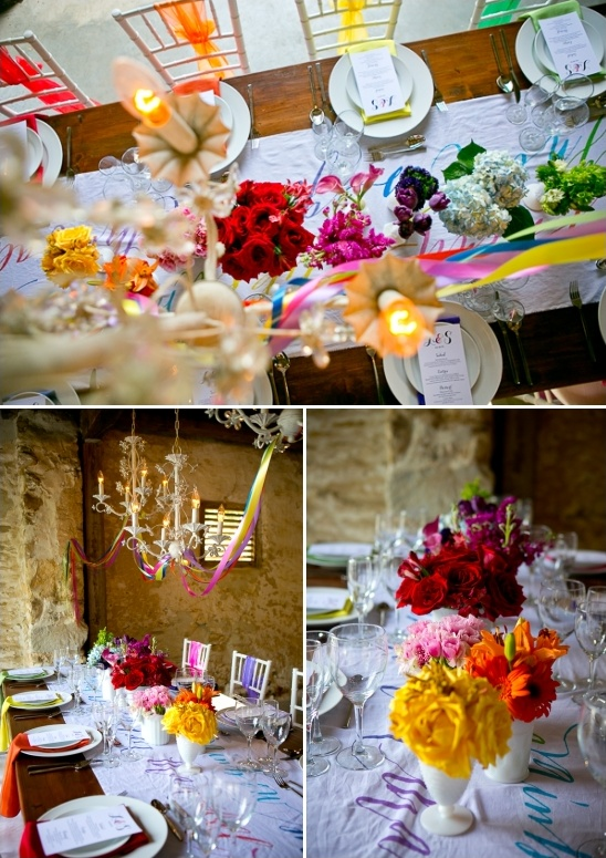 rainbow floral centerpiece