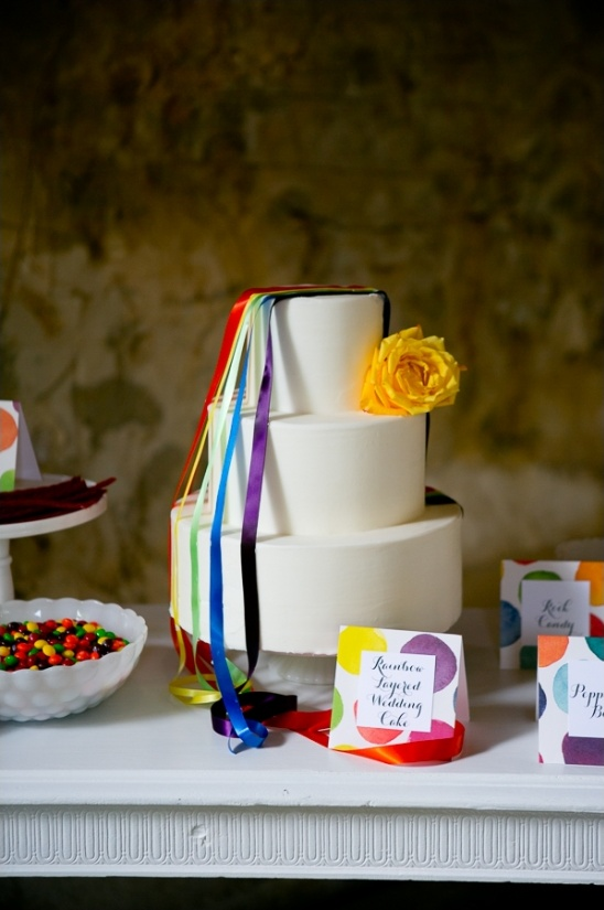 ribbon draped wedding cake