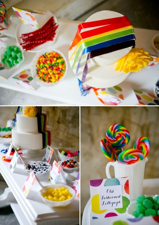 colorful candy and dessert table