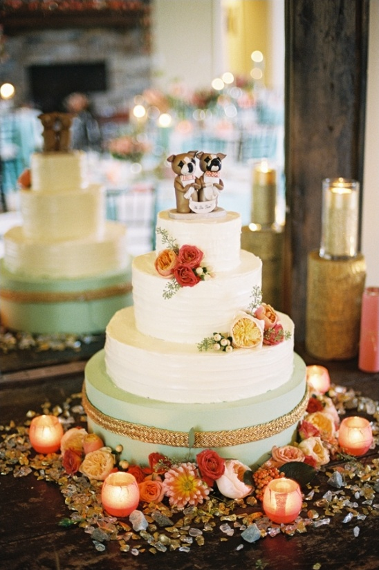 elegant mint and gold wedding cake