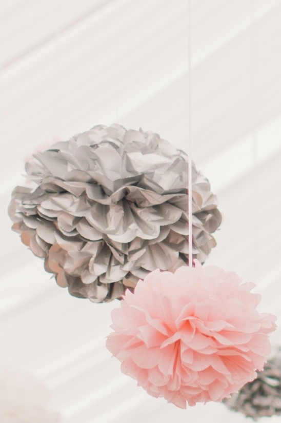 pink and silver paper balls