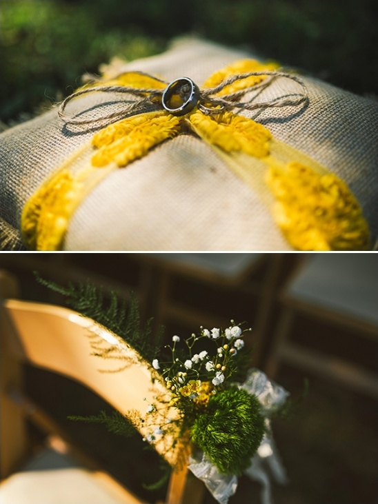 burlap ring bearer pillow and simple aisle decor