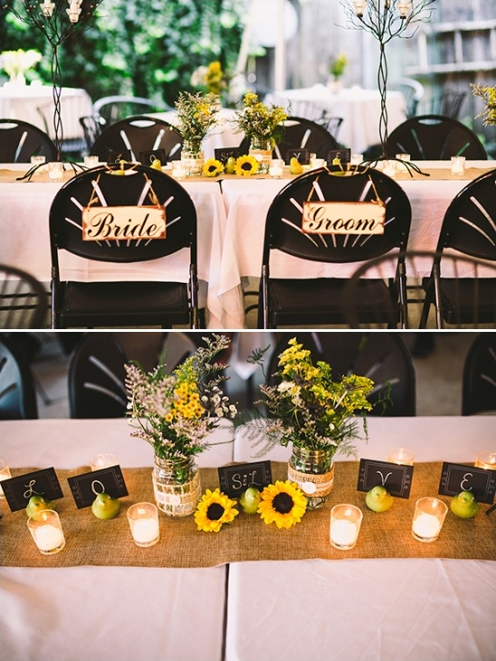 bride and groom seating signs and love table decor