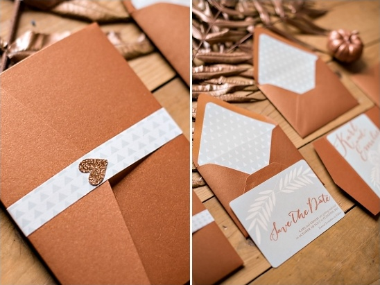 bronze wedding invites
