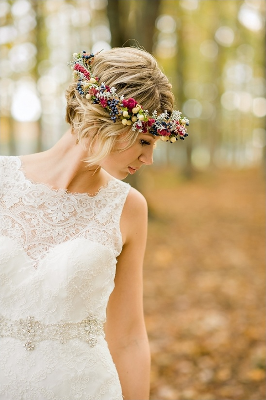berry and floral hairband