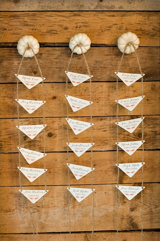 mini pumpkin escort card hangers