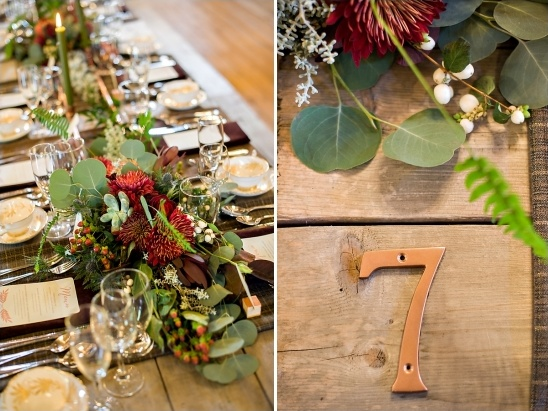 copper house numbers used as table numbers