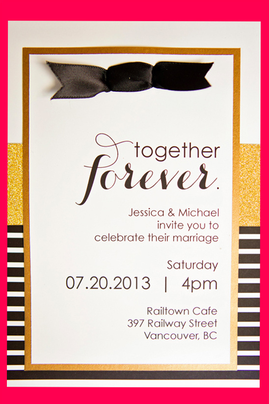 black and gold wedding invite