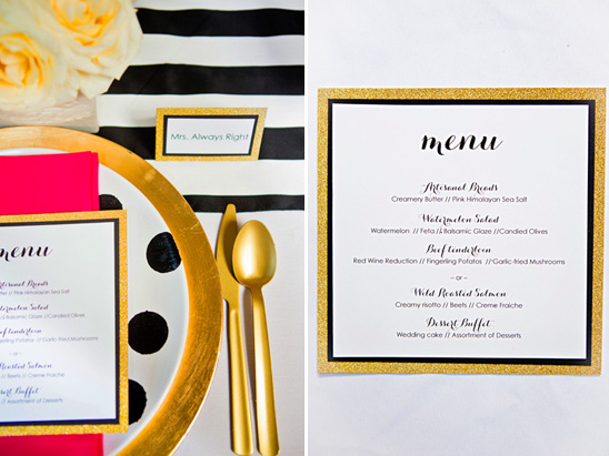 gold wedding menu