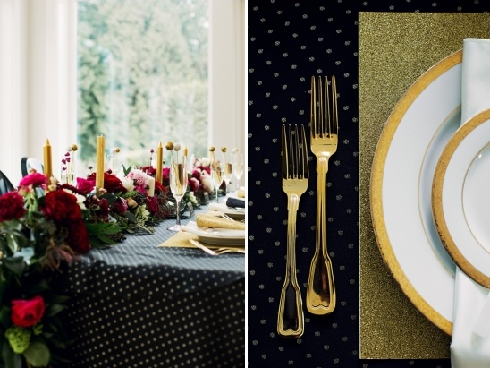gold and black table decor ideas