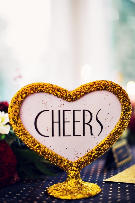 gold glitter cheers sign