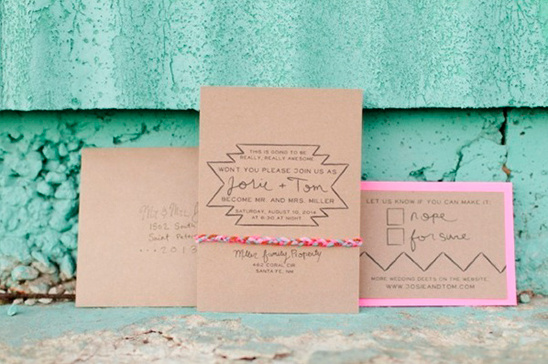 funky brown paper invites by abby mitchell event planning and design