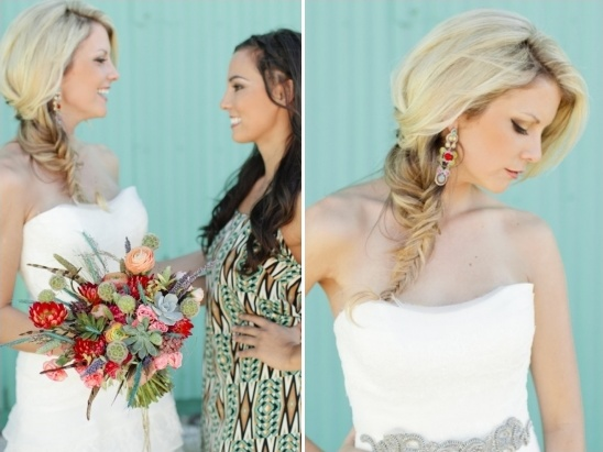 colorful bridal bouquet and earrings