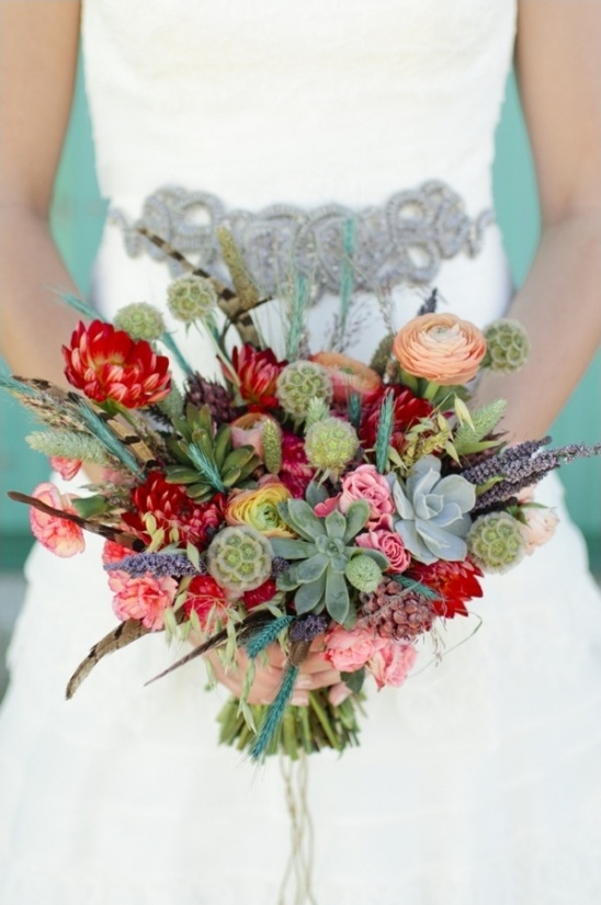 feather succulent and floral bouquet