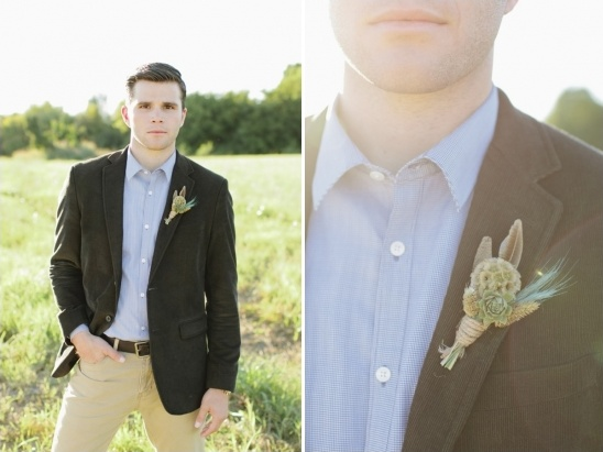 black and beige groom look