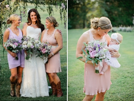 pink and purple bridesmaids
