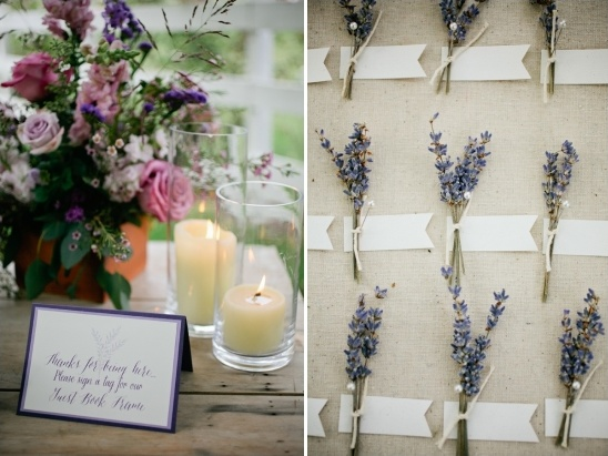 lavendar sprigs for guests to sign