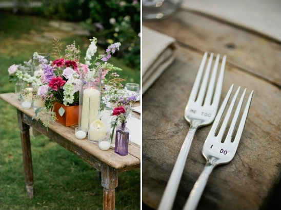 sweetheart table and engraved wedding utensils