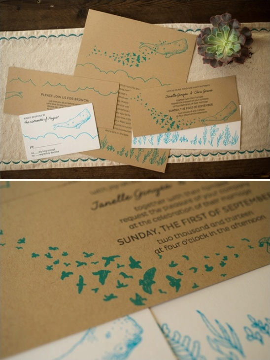 whale inspired wedding invites