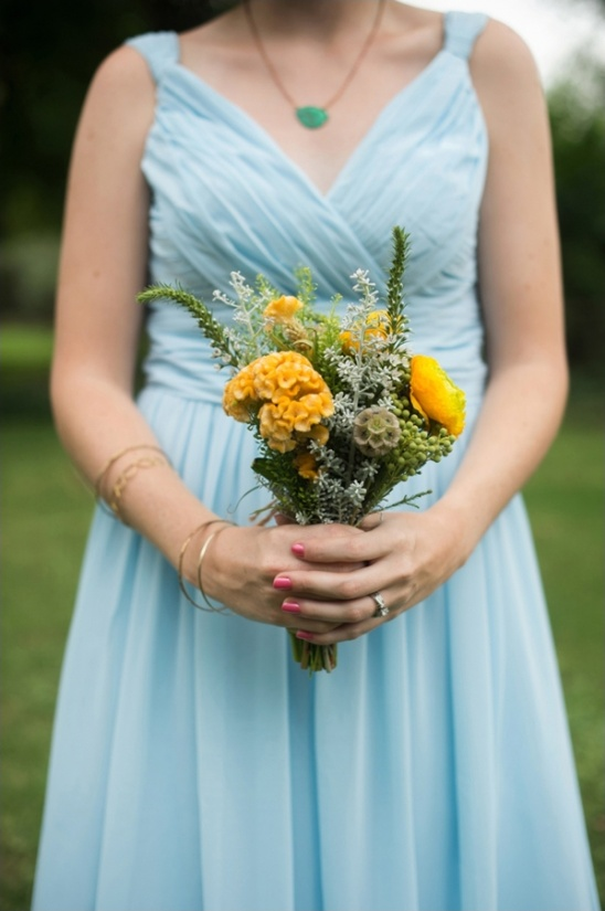 rustic yellow wedding bouquet by fleur