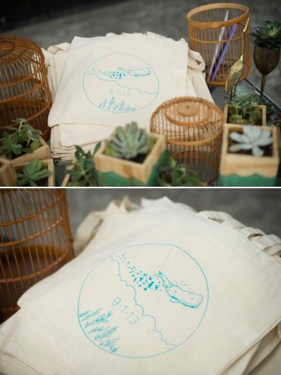 custom screenprinted bags for wedding favors