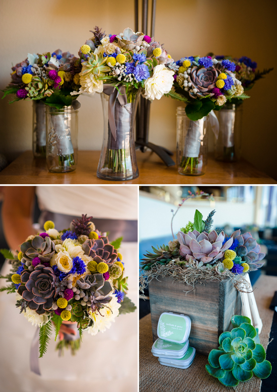 Lake Tahoe wedding with succulent bouquets and centerpieces