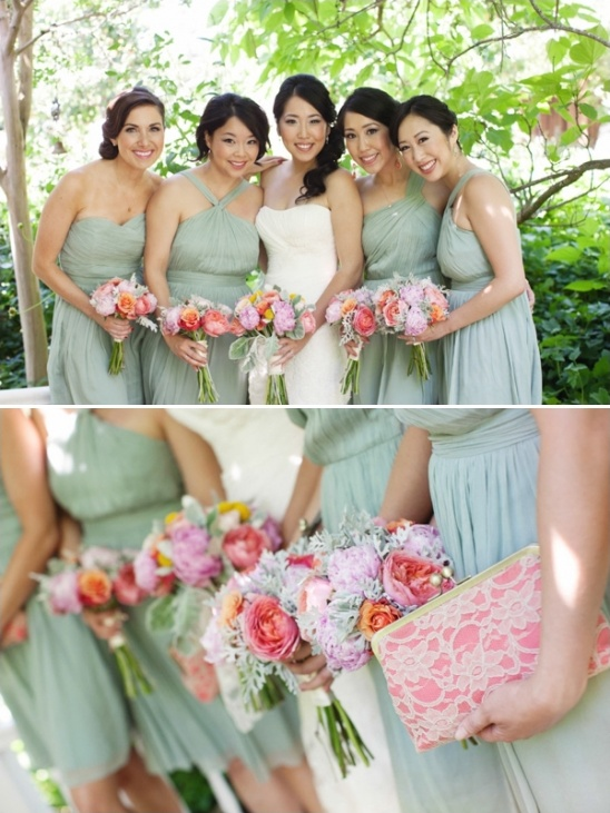 mint bridesmaid dresses and coral lace clutches