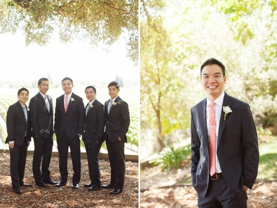 formal groomsmen looks with gray and coral ties