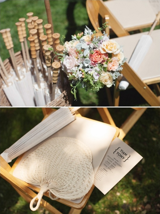 umbrellas and fans for a sunny outdoor wedding