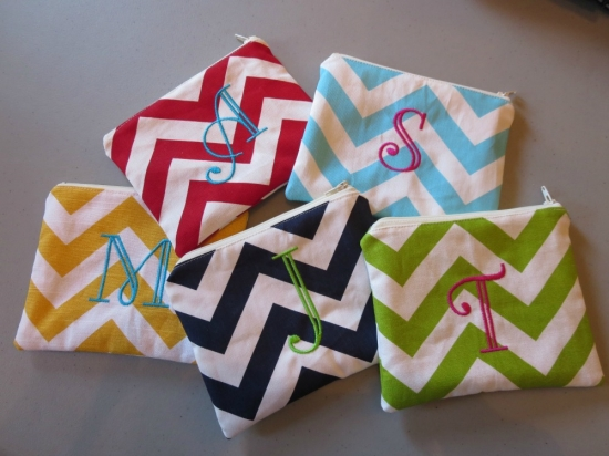Chevron Cosmtic Bags Bridesmaids Gifts!