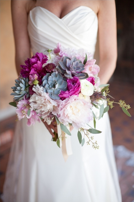 pink and purple and succulant wedding bouquet