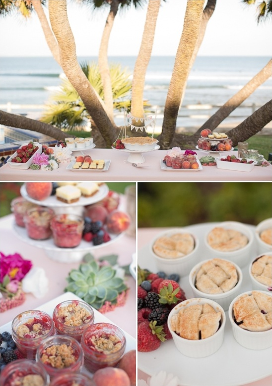 dessert table with mini cobblers and mini pies