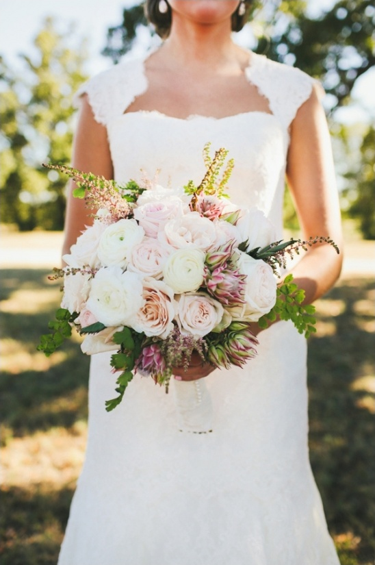 light pink and white wedding bouquet by coco fleur events
