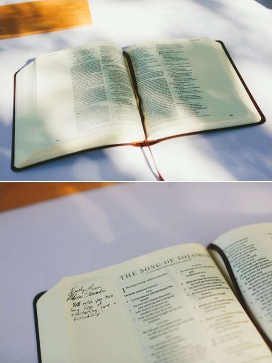 bible as a wedding guestbook