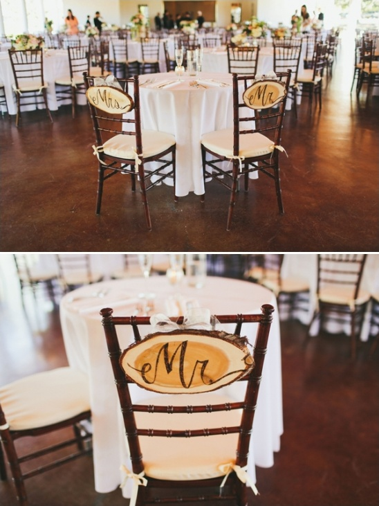 cute rustic mr. and mrs. sign chair signs