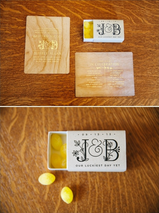 wooden wedding invites and customized candy boxes
