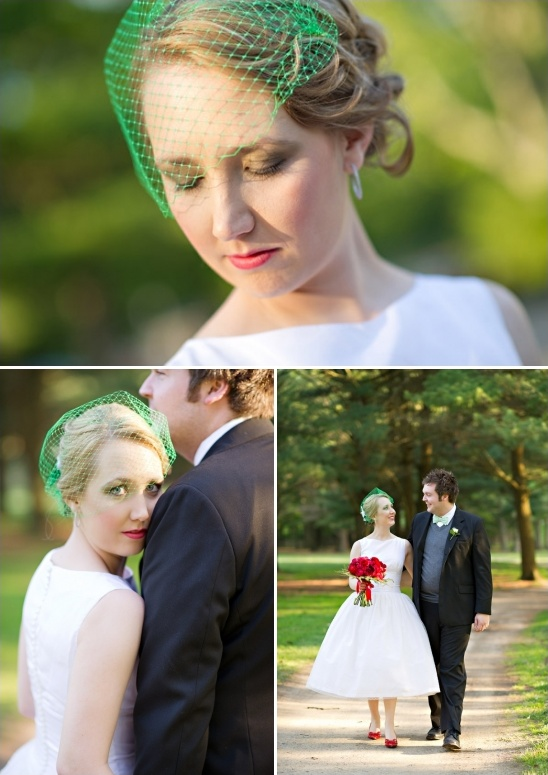 emerald green bird cage veil