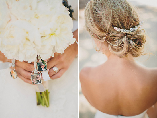 memorial bridal bouquet and wedding updo