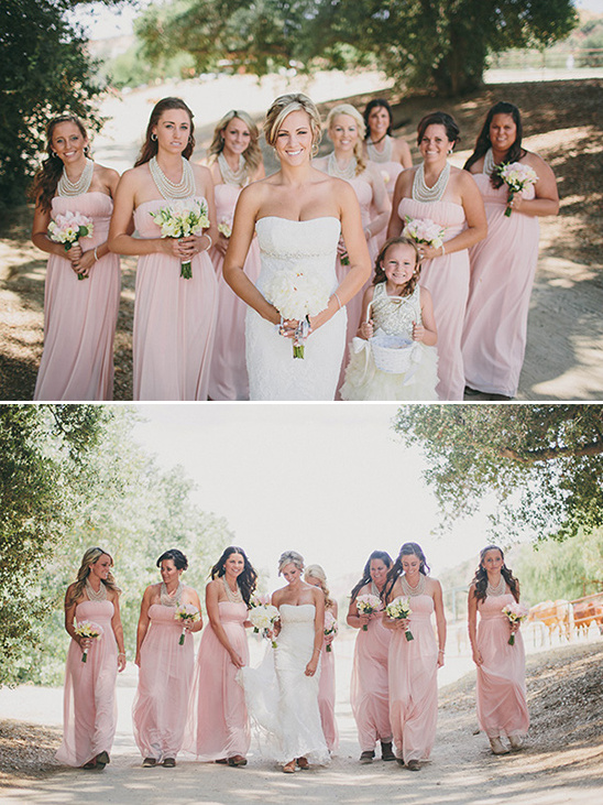 pastel pink bridesmaid dresses with cowboy boots