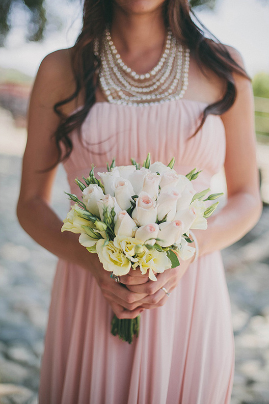 pink and yellow bridesmaid bouquets