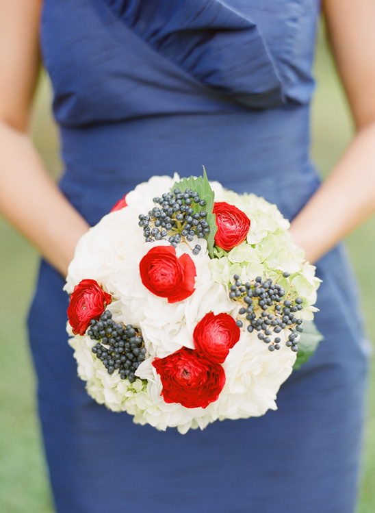 red, white and blue wedding bouquet